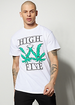 White High Five Weed Print Graphic Tee