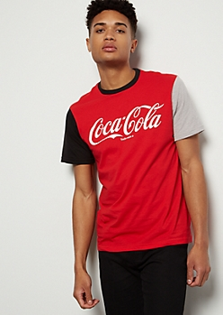 Red Coca Cola Duo Colorblock Graphic Tee
