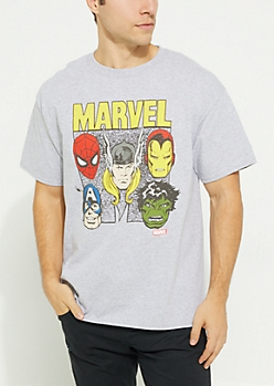 Avengers Characters Champion Gray Tee