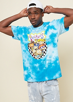 Blue Tie Dye Rugrats Checkered Tee