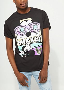 Black Mickey Mouse Surfing Tee