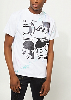 White Blocked Mickey Mouse Paint Splatter Tee