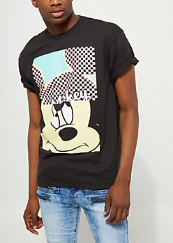 Black Split Mickey Mouse Short Sleeve Tee