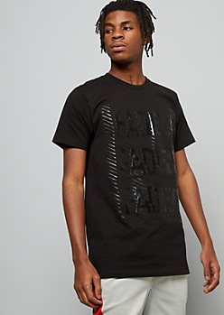 Black Raised Striped Faded Graphic Tee