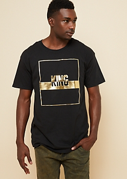 Red Embossed Gold Foil King Graphic Tee