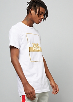 White Raised Foil King Crew Neck Graphic Tee