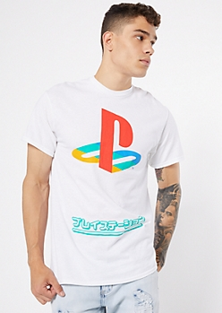 White PlayStation Kanji Crew Neck Graphic Tee