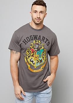 Gray Hogwarts Crest Crew Neck Tee