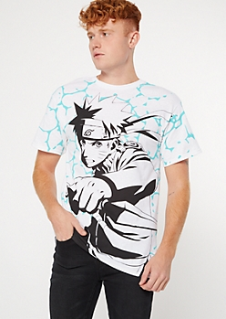 White Crackle Print Naruto Graphic Tee