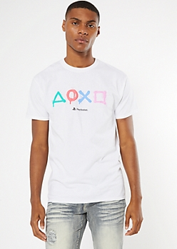 White PlayStation Graphic Tee