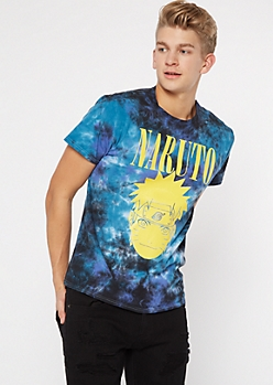Blue Tie Dye Naruto Graphic Tee