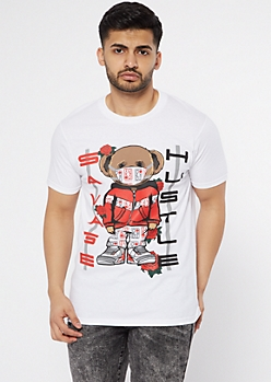 White Hustle Savage Bear Graphic Tee