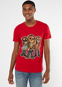 Red Hip Hop Bears Graphic Tee