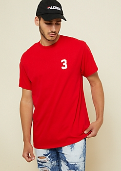 Red Short Sleeve Hustle Football Graphic Tee