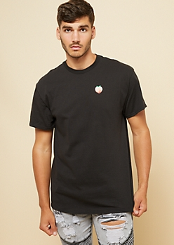 Black Embroidered Peach Patch Tee