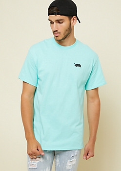 Mint California Bear Embroidered Patch Tee