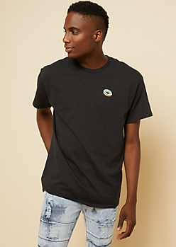 Black Embroidered Donut Graphic Tee
