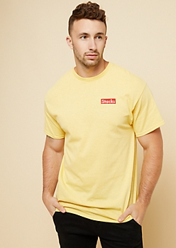 Yellow Embroidered Stacks Graphic Tee