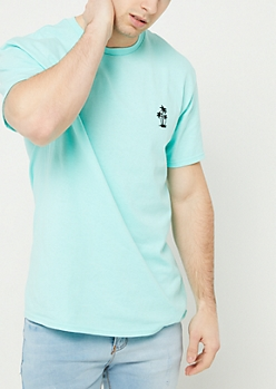 Mint Palm Tree Embroidered Tee