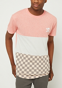 Coral Stay Fresh Checkered Colorblock Tee