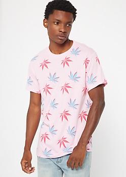 Pink Weed Print Crew Neck Tee