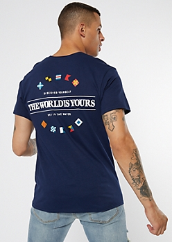 Navy The World Is Yours Graphic Tee