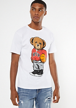 White Basketball MVP Teddy Bear Graphic Tee