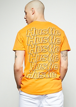 Neon Orange Hustle Repeat Graphic Tee