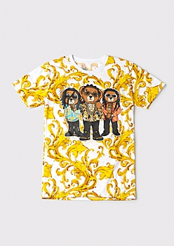 Chain Print Rapper Bear Graphic Tee