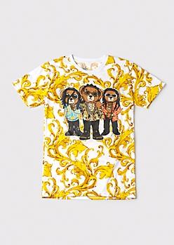 Chain Print Rapper Bear Graphic Tee