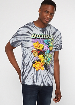 Gray Tie Dye Outkast Comic Graphic Tee