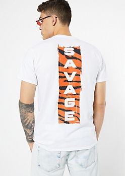 White Tiger Print Savage Graphic Tee