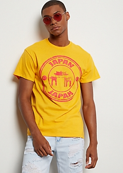 Dark Yellow Japanese Graphic Tee