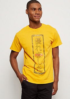 Yellow Kanji Crew Neck Graphic Tee