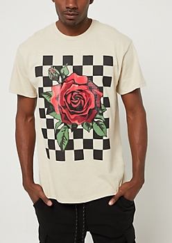 Sand Checkered Rose Tee
