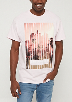 Pink Los Angeles Cityscape Vibes Tee