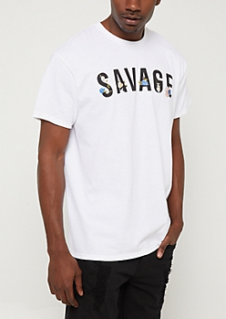 White Floral Savage Back Tee