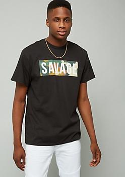 Black Savage Camo Graphic Short Sleeve Tee