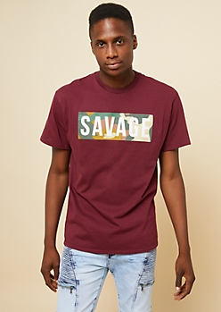 Burgundy Camo Print Savage Graphic Tee