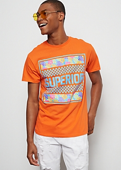 Neon Orange Superior Checkered Print Graphic Tee