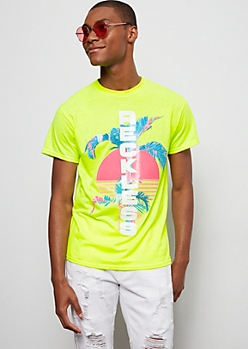 Neon Green Reckless Retro Sunset Graphic Tee