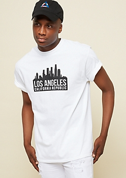 White Los Angeles Cityscape Back Star Tee