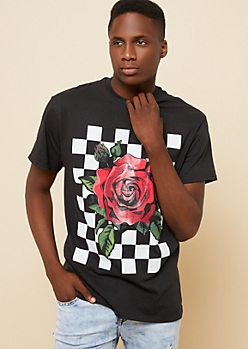 Black Checkered Rose Tee