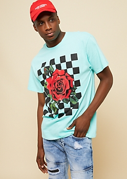 Mint Checkered Rose Tee
