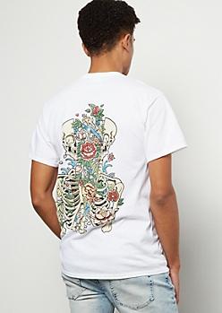White Split Skeleton Floral Print Graphic Tee