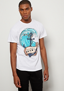 White Waves Anchor Iconic Graphic Tee