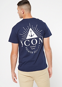 Navy Icon Anchor Graphic Tee