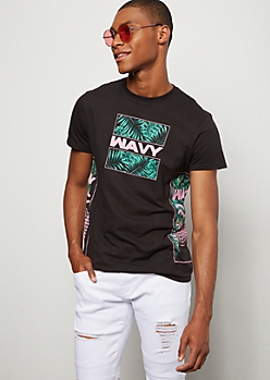 Black Tropical Wavy Crew Neck Graphic Tee