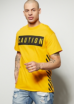 Mustard Diagonal Striped Caution Graphic Tee
