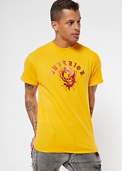 Yellow Superior Rose Foil Graphic Tee